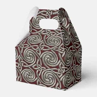 Plata y modelo de nudos espiral céltico rojo cajas para regalos