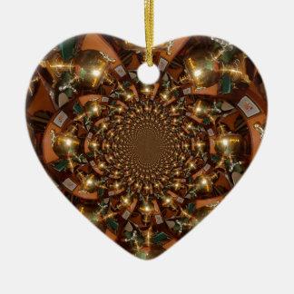 Plata y oro adorno navideño de cerámica en forma de corazón