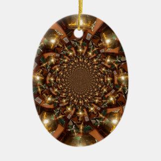Plata y oro adorno navideño ovalado de cerámica