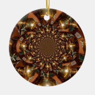 Plata y oro adorno navideño redondo de cerámica