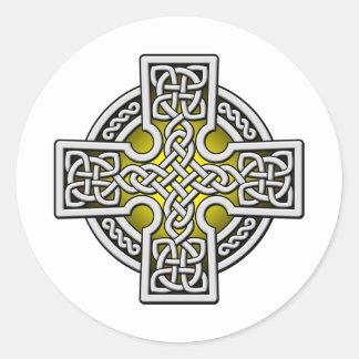 Plata y oro de la manera del Celtic 4 Pegatina Redonda