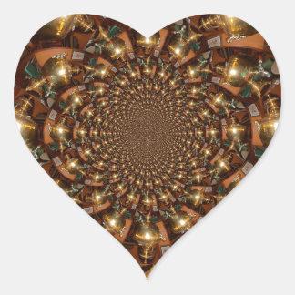 Plata y oro pegatina en forma de corazón