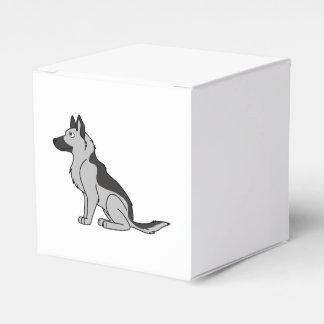 Plata y pastor alemán del negro cajas para regalos de boda