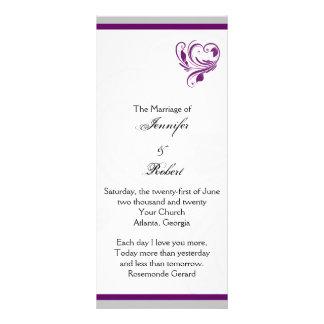 Plata y programa floral púrpura del boda del plantilla de lona