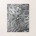 Plata y ramas abstractas grises puzzle