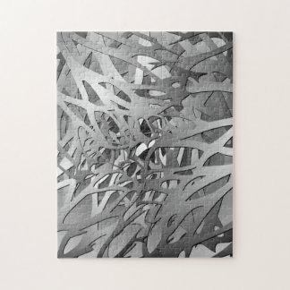Plata y ramas abstractas grises rompecabeza