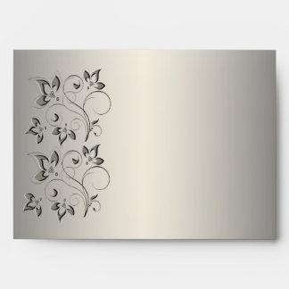 """Plata y sobre floral del negro para 5"""""""" tamaños x7"""