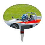 Plata y solo coche de competición rojo del seater figuras de tarta