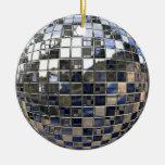 Plata y un poco de ornamento azul del espejo de la adorno de navidad