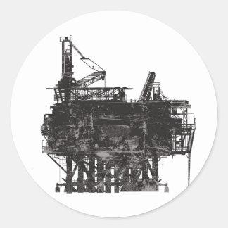 Plataforma petrolera del vintage etiqueta redonda