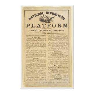 Plataforma republicana 1860 del convenio nacional impresión en lienzo estirada