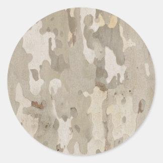 Platan bark texture classic round sticker