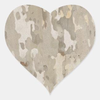 Platan bark texture heart sticker