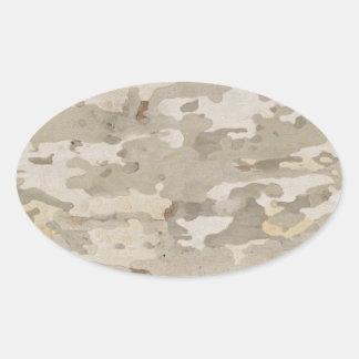 Platan bark texture oval sticker