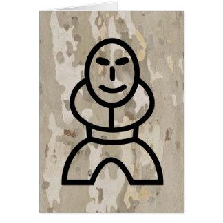 Platan bark texture with cartoon man card