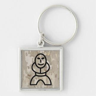 Platan bark texture with cartoon man keychain