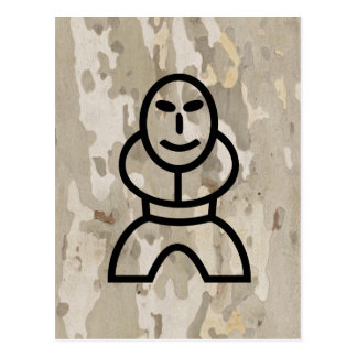 Platan bark texture with cartoon man postcard