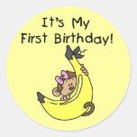 Plátano - cumpleaños del mono del chica 1r etiquetas