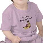 Plátano - cumpleaños del mono del chica 1r camiseta