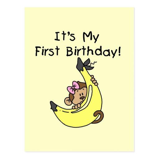 Plátano - cumpleaños del mono del chica 1r postal