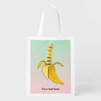 Plátano de la bandera del orgullo gay LGBQ Bolsa Reutilizable