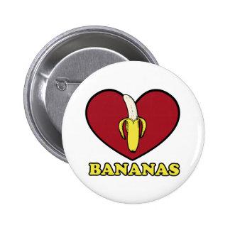 plátano del amor pin redondo de 2 pulgadas