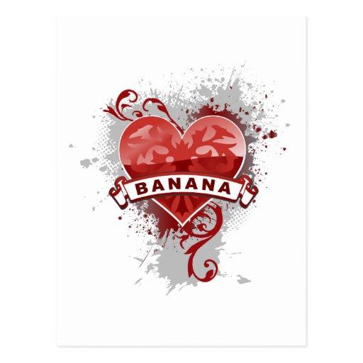 Plátano del corazón tarjeta postal