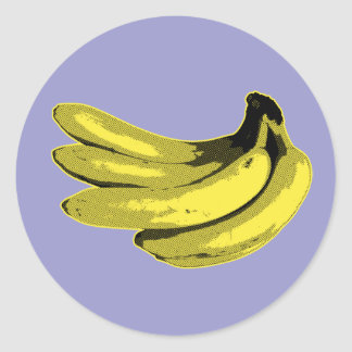 Plátano gráfico amarillo pegatina redonda