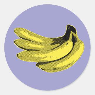 Plátano gráfico amarillo pegatinas redondas