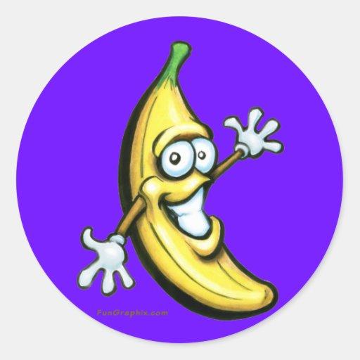 Plátano Pegatina Redonda