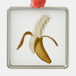 Plátano pelado censurado sucio adorno navideño cuadrado de metal