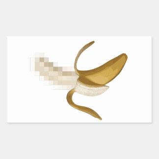 Plátano pelado censurado sucio pegatina rectangular