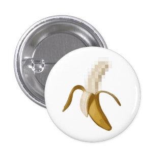 Plátano pelado censurado sucio pin redondo de 1 pulgada