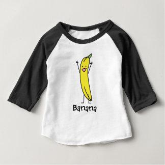Plátano que es feliz, celebrando y animando playera de bebé