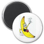 Plátano superior, dibujo animado de baile del plát imán de nevera