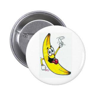 Plátano superior, dibujo animado de baile del plát pin redondo 5 cm