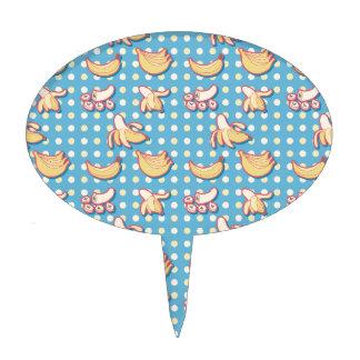 Plátanos - azules y Polk-uno-puntos amarillos Decoración De Tarta