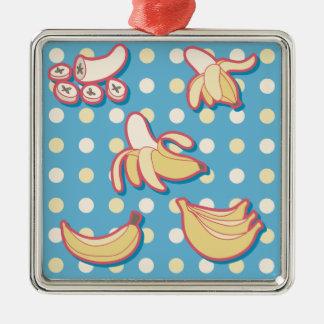 Plátanos - azules y Polk-uno-puntos amarillos Adornos De Navidad