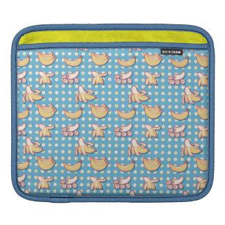 Plátanos - azules y Polk-uno-puntos amarillos Fundas Para iPads