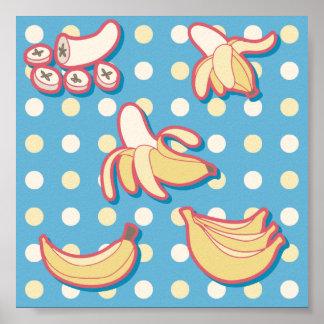 Plátanos - azules y Polk-uno-puntos amarillos Poster