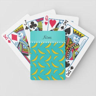 Plátanos conocidos personalizados de la turquesa baraja de cartas