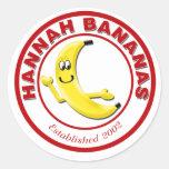 Plátanos de Hannah Etiquetas Redondas