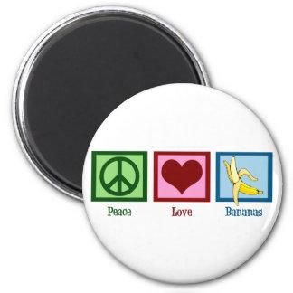 Plátanos del amor de la paz imán redondo 5 cm