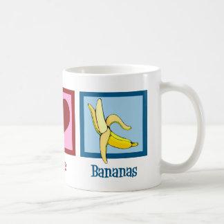 Plátanos del amor de la paz tazas de café