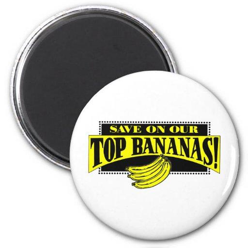Plátanos superiores imán de nevera