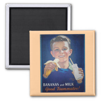 Plátanos y leche imán cuadrado