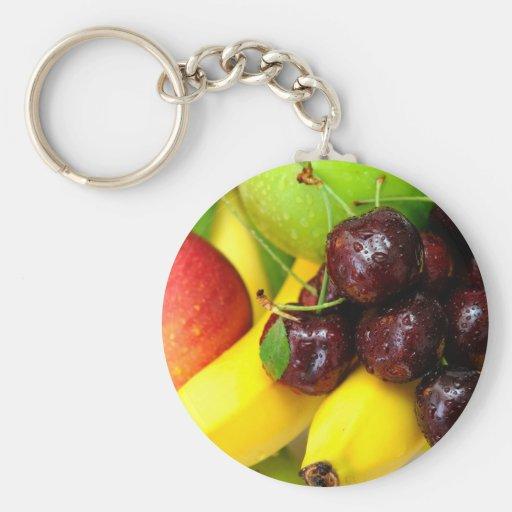 Plátanos y manzanas de las cerezas llavero