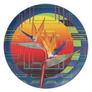 Plate   Abstract Bird of Paradise Flower Geometric