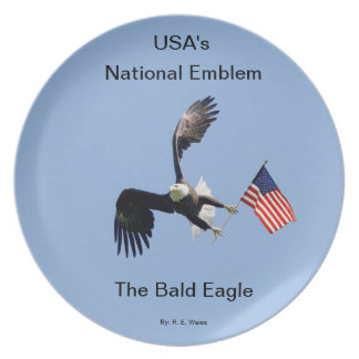 Plate/ Bald Eagle carrying the American Flag