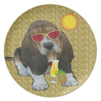 Plate Basset Baby Basset Sheldon Summer Time
